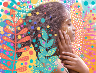 Digital floral art and a portrait on with dot patterns colorful background