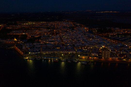 Aerial view of Sunset in Ayamonte in Huelva Spain