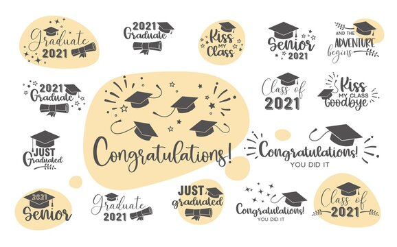 Graduation congratulations at school, university or college . Trendy calligraphy inscriptions