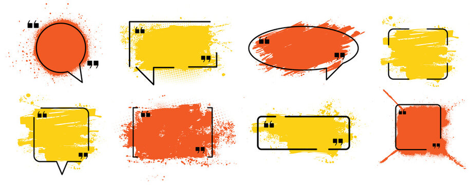 Orange and yellow paint compositions with frame, text box. Quote box speech template, dirty design, logo texture template. Isolated set splashes on white background. Street art layout. Vector set