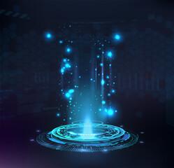 Fototapeta Magic portal, hologram, circle teleport or Sci-fi gadget. High-tech projector in HUD style. Futuristic magic podium. VR universal graphic element. Presentation podium, Circle portal, teleport. Vector obraz