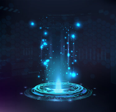 Magic portal, hologram, circle teleport or Sci-fi gadget. High-tech projector in HUD style. Futuristic magic podium. VR universal graphic element. Presentation podium, Circle portal, teleport. Vector