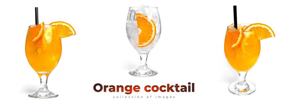 Orange cocktail isolated on a white background.