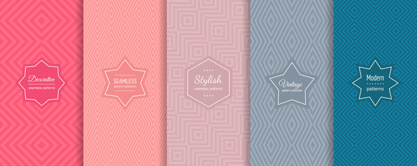 Geometric line seamless patterns. Vector set of stylish linear backgrounds with elegant minimal labels. Abstract modern ornament textures. Trendy fresh color palette. Design for print, decor, package