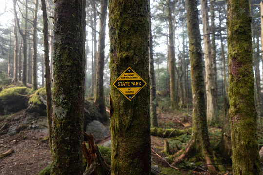 State Park Boundary Sign at Mount Mitchell in Western North Carolina