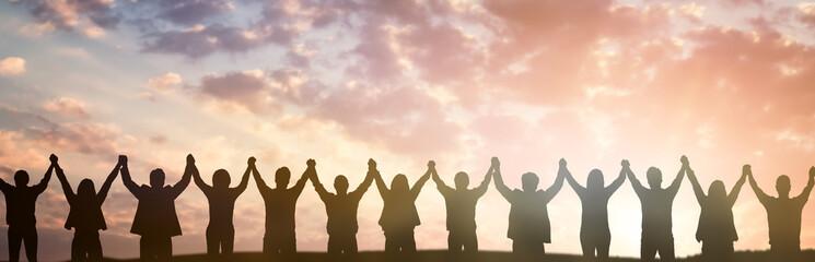 Obraz Silhouette of group business team. Teamwork concept. - fototapety do salonu