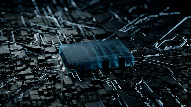 Advanced Technology Concept with Microchip. White Neon Data flows from the CPU across a Futuristic Motherboard. 3D render.