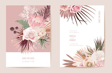 Vector exotic dry flower, palm leaves boho invitation card. Wedding dried protea, orchid, pampas grass Wall mural