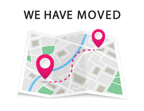 We have moved. Navigation map with pointers. Map location with changed the address. Advertising banner with city map. Vector illustration.