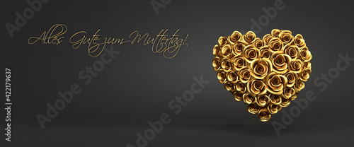 """3d rendering: A heart of golden roses in front of a black background and the German message """"Alles Gute zum Muttertag"""" (""""Happy Mother's Day""""). Web banner format"""