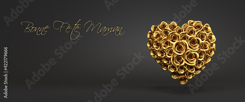 """3d rendering: A heart of golden roses in front of a black background and the French message """"Bonne Fête Maman"""" (""""Happy Mother's Day""""). Web banner format"""