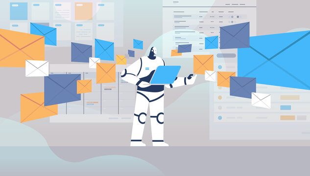 robot using laptop sending and receiving envelopes email letters artificial intelligence technology