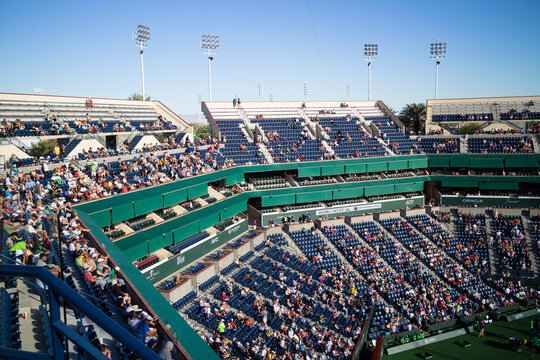 INDIAN WELLS, CA - MARCH 12, 2014: Early Round Crowd on Center Court at the BNP PARIBAS Open
