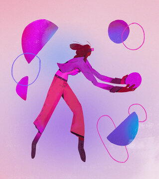 African Girl create shapes with virtual reality headset with abstract shape. Modern Design for art creation and entertainment. illustration with gradient.