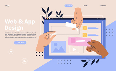 Obraz Web design concept with hands placing elements onto a digital device screen - fototapety do salonu
