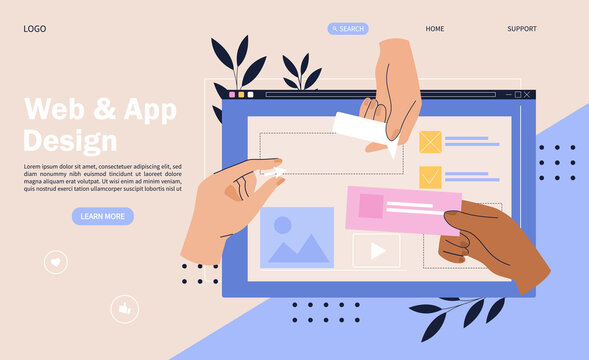 Web design concept with hands placing elements onto a digital device screen
