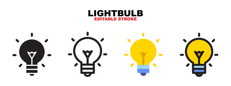 Lightbulb icon set with different styles. Editable stroke and pixel perfect. Can be used for web, mobile, ui and more.