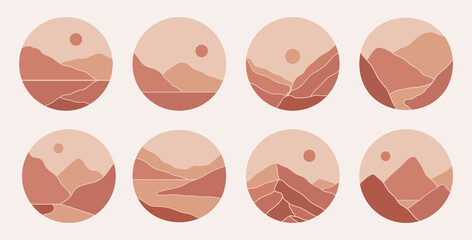 Contemporary modern abstract mountain landscapes highlight covers stories