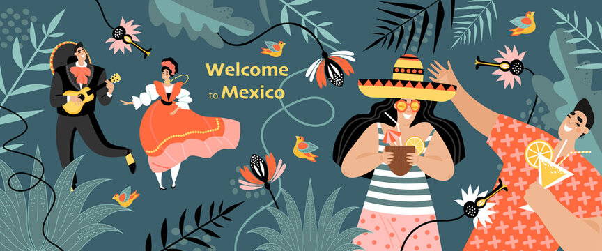 Welcome to Mexico concept. Banner with funny young people drinking cocktails and a couple in traditional Mexican clothes on a background of flowers.