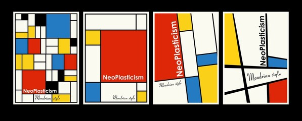 Modern set of covers, posters inspired by Mondrian s postmodern. Neoplasticism, Bauhaus.