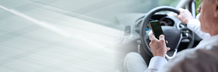 Using mobile phone while driving; panoramic banner