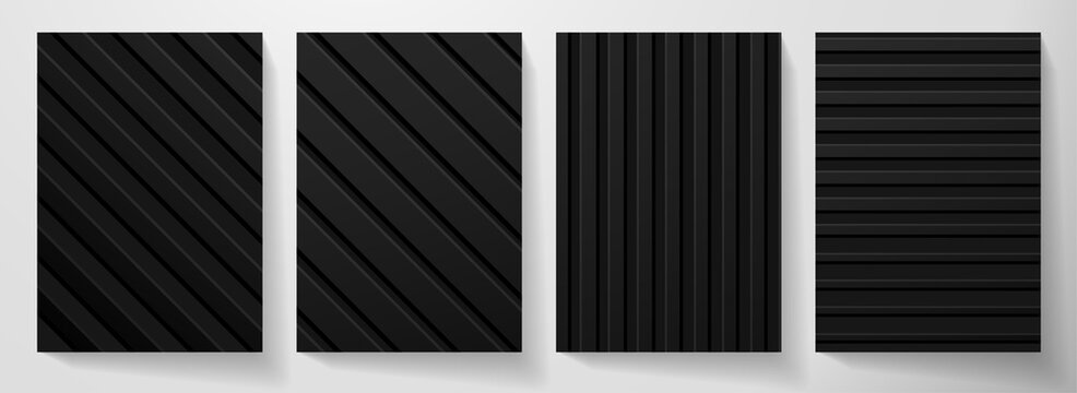 Modern blank black background design set. Creative dynamic diagonal, line pattern (geometric stripe ornament). Abstract graphic vector background for cover, vertical business page, flyer template