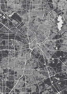 City map Dallas, monochrome detailed plan, vector illustration