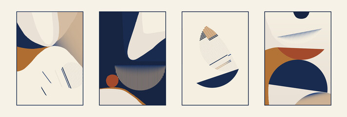 Fototapeta Set of minimalist abstract aesthetic composition illustrations. Modern style wall decor. Collection of contemporary artistic posters. obraz
