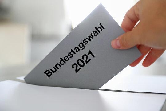 Stimmzettel zur Bundestagswahl 2021 in Deutschland