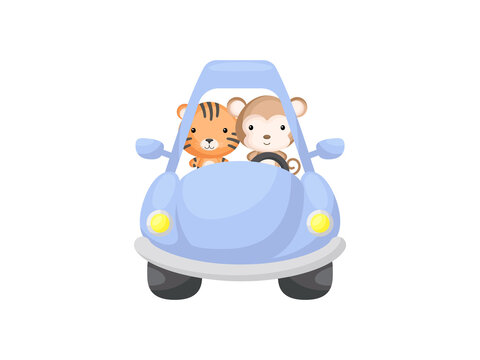 Cute little tiger and monkey driving blue car. Cartoon character for childrens book, album, baby shower, greeting card, party invitation, house interior. Vector stock illustration.