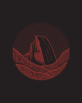 yosemite national park in mono line art, badge design, T-shirt Art, Tee Design