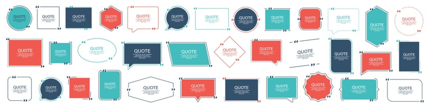 Quote box frame, big set. Texting quote boxes. Blank template quote text info design boxes quotation bubble blog quotes symbols. Creative vector banner illustration. Vector brushes background.