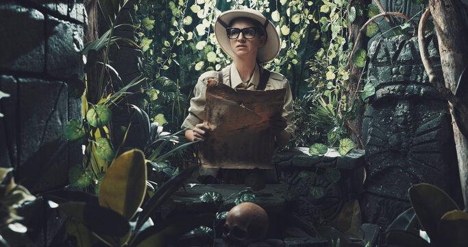 Scared explorer lost in the jungle