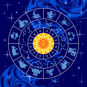 Circle with zodiac signs, constellations, yellow sun and abstract blue background
