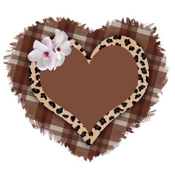 Frame in the form of a heart with a leopard pattern on a torn plaid background