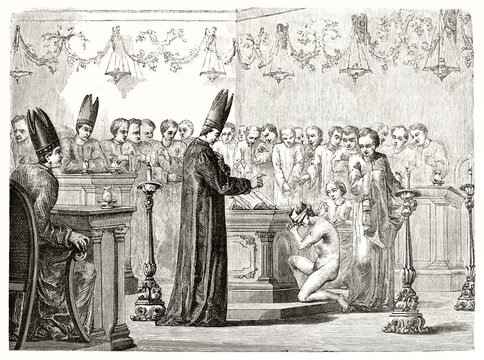 novice acceptance indoor in a Mormon church. Naked guy kneeling in front of the bible while priest blesses him. Ancient grey tone etching style art by David, Le Tour du Monde, 1862