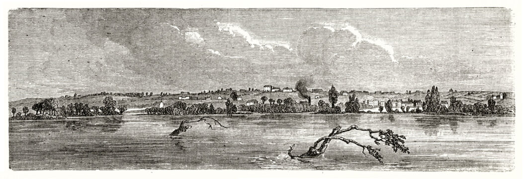 Flat water ov a river flowing in horizontal direction on Nauvoo, Illinois. Coast in the distance. Ancient grey tone etching style art by unidentified author, Le Tour du Monde, 1862