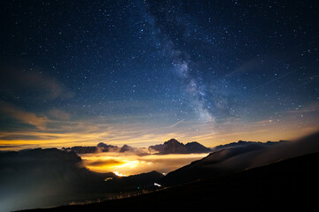 Wall Mural - Sassolungo (Langkofel) peak under starry light. Location place natural park Dolomites, Italy, Europe.