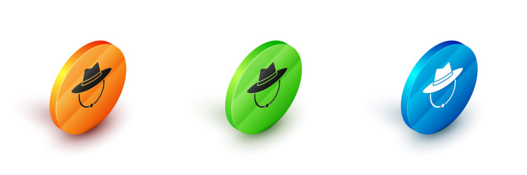 Isometric Western cowboy hat icon isolated on white background. Circle button. Vector