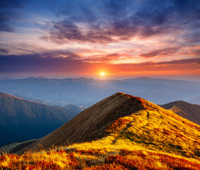 Wall Mural - A great view of the hills glowing by sunlight at twilight. Location place Carpathian mountains, Ukraine, Europe.