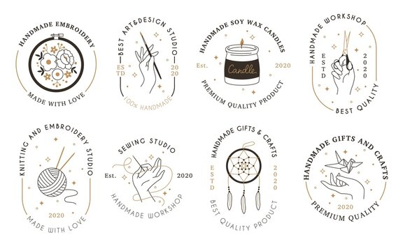 Handmade workshop signs. Craft products hipster linear emblems, minimalist hobbies and creativity badges, hands holding tools. Art and embroidery studio logo vector line labels set