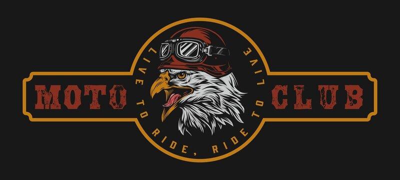 Motorcycle club vintage colorful logo