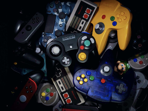 HAMBURG, GERMANY - Dec 11, 2020: Gaming Controllers for Nintendo Consoles
