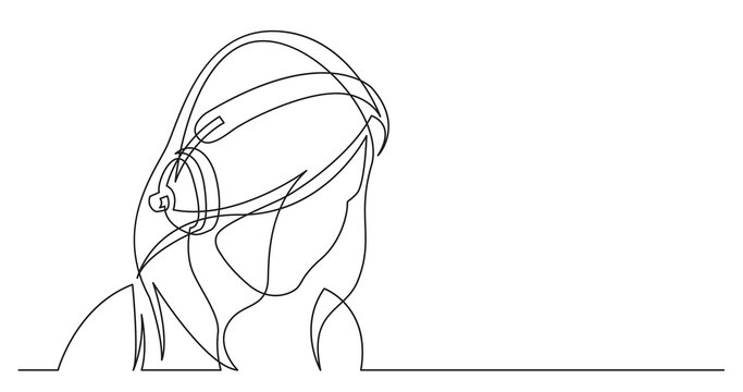 continuous line drawing of long hair style woman relaxing listening music in headphones