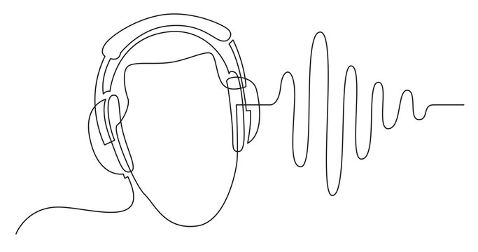 continuous line drawing of man listening music in headphones wuth sound wave
