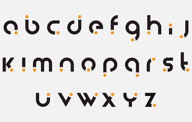 Fototapeta calligraphy alphabet small lettering a to z font family obraz
