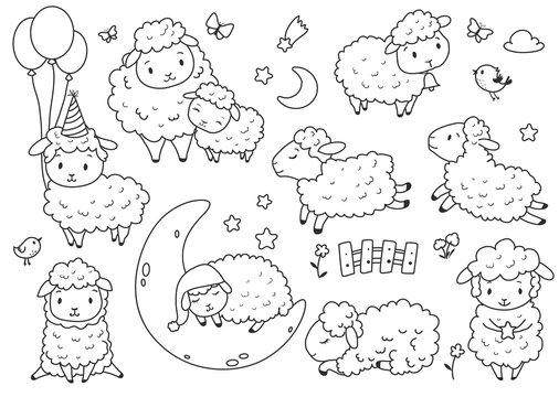 Cute sheep set. Kids coloring page. Hand drawn vector illustration. Black and white clip art.