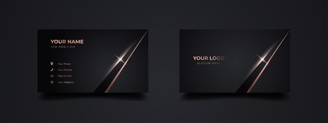 Obraz Manager business card template. Luxury and elegant with dark golden light effect background. Vector illustration ready to print. - fototapety do salonu
