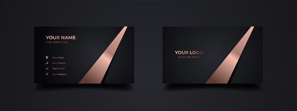 Modern business card with golden line template design. With inspiration from the abstract. Contact card for companies or startup company. Two sides dark black and gold effect. Vector illustration.