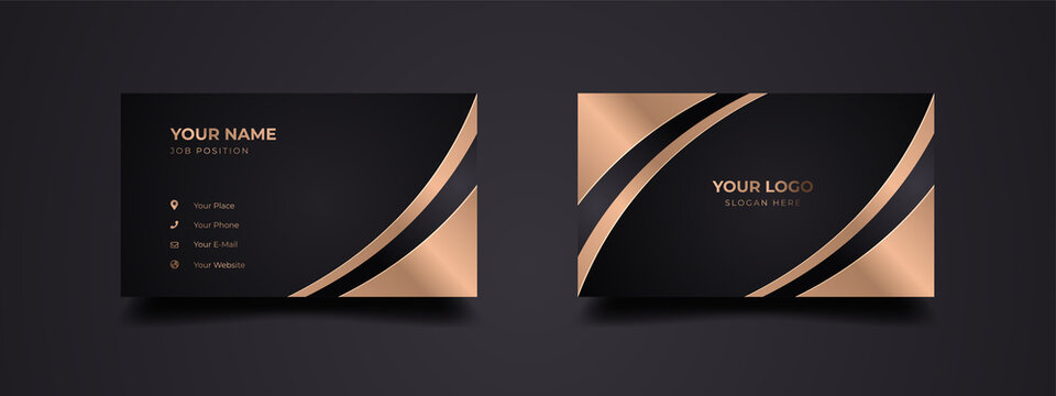 Director business card design template. Luxury and elegant background with dark black and gold effect. Vector ready to print.